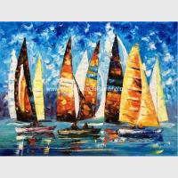 China Abstract Sailing Ship Oil Painting by palette knife / Hand Painted Thick Oil Painting wholesale