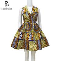 China Warp Front Dress African Wax Print Sleeveless Fit And Flare Knee Length wholesale
