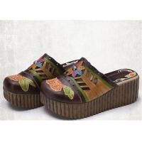 High Platform Slip On Sandals , Leather Slide Sandals Artistic Pattern Painted / Carved