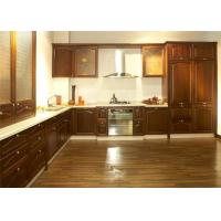 China Ancient Solid Wood Kitchen Cabinets , Hanging Kitchen Wall Cabinets With Quartz Stone Countertop wholesale