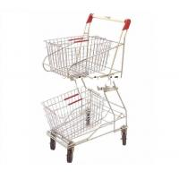 Quality two basket shopping cart/double layer basket shopping trolley for supermarket for sale