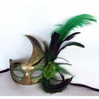 """China Colombina Plastic mask with ostrich feather 13"""" PF0803R GOLD wholesale"""