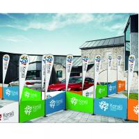 Quality Portable Type Fabric Trade Show Displays With Flag Carrying Bag Railing Shape for sale