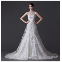 China Unique Pearl illusion neckline Halter Neck Wedding Dresses with Lace back wholesale