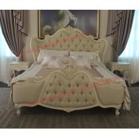 China Exquisite Fabric Padding Headboard with Solid Wood Bed in Ivory White Painting wholesale