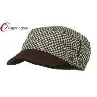 China Brown Checker Crown Military Baseball Hats , Soft Pure Cotton Army Baseball Caps wholesale