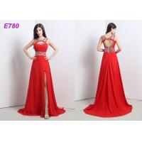 China Red Slit Sexy Cocktail Party Dress Beading Chiffon Dress For Evening Dress wholesale