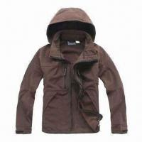 China Men's Soft Shell Jacket with Adjustable and Detachable Hood wholesale