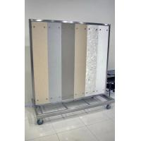 China White large flooring display racks with 4 castors for laminate floor stores for Exhibit wholesale
