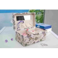 China Pink Fabric Jewelry Box L25*W16*H13CM , Watch Storage Box With Lock And Mirror wholesale