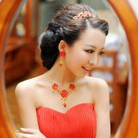 Quality Red Flower Jewelry Necklace Bride Wedding Accessories for Girls for sale