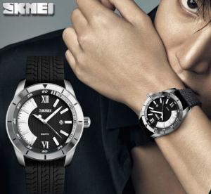 China 2017 New Skmei Vogue Fashion Large Dial Men Sport Style Silicone Strap Quartz Wrist Watches 9151 wholesale