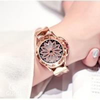 China GUOU Ladies Leather Band Japanese Quart Movment Waterproof Rotatable petal dial Wrist Watch 6605 wholesale