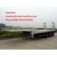 China 3AXLES Loading Construction Machines Hydraulic Flatbed Semi Trailer 70 Tons 17m wholesale