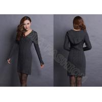 China V Neck Cable Knitted Ladies Sweater Dresses With Hood , Narrow Waist Womens Sweater wholesale