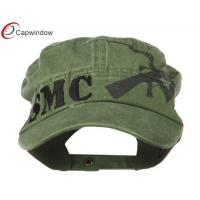 Quality Green Jeep Style Flat Top Military Baseball Hats with Pure Cotton / Adjustable Buckle Strap Closure for sale