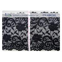 China Black Elastic Lace Nylon Spandex Fabric Water Soluble 15cm Width CY-HB0385 wholesale