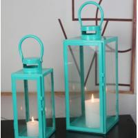 China blue color set of 2 glass metal square candle Lantern Garden Night Wedding Outdoor Tea Light Decor wholesale
