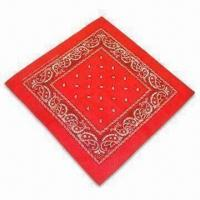 China 100% Cotton Printed or Solid-color Bandana with Locked and Sewn Edges wholesale