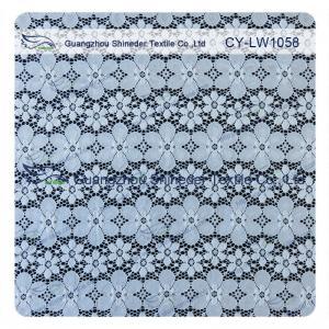 Quality Nylon Spandex Elastic Blue Floral Lace Fabric Trim For Lady Garment for sale