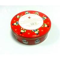 China Cylinder Tin Cookie Container For Christmas Holiday With Lable On Bottom wholesale
