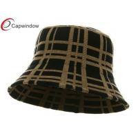 China Black Khaki Plaid Winter Fisherman Bucket Hat with Pure Acrylic wholesale