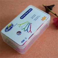 China Individual plastic Y shaped green and white dental floss pick wholesale
