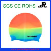 China customized printing silicone swimming caps ,mixed color swim caps on sale