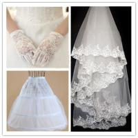 China Long White Gloves lace cathedral veil wedding bridal accessories with panniers wholesale