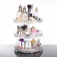 China Diamond surface cutting process transparent acrylic cosmetic storage box desktop swivel shelf makeup organizer wholesale