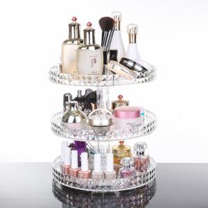 China Diamond surface cutting process transparent acrylic cosmetic storage box desktop swivel shelf makeup organizer wholesale