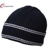 China Navy White Cable Cuff Knit Winter Hats Acrylic Warm 3D Embroidery Logo wholesale