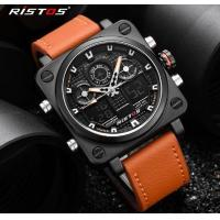 Buy cheap Wholesale RISTOS Men Dual Time Genuine Leather Strap 3 ATM Waterproof Multifunct from wholesalers