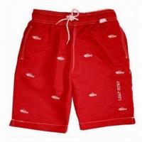 China Boardshorts with Solid Red Fabric, Fishbone Prints on the Main Fabric, Adjustable High Quality Tie wholesale