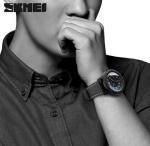 Skmei Joler Fashion Large Dial Genuine Leather Strap Waterproof Quartz Men Wrist Watches 9138