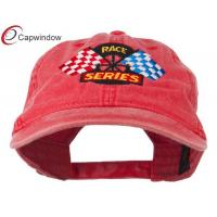 China Red Race Series Flags Embroidered Washed Racing Baseball Caps wholesale