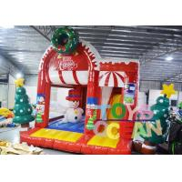 China Christmas Jumping Castle Advertising Inflatable Snowman Bouncers With Free Repair Kit wholesale