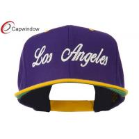 China Purple Gold Los Angeles Embroidered Snapback Baseball Caps with Wool and Acrylic Blend wholesale