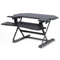 China Pneumatic Corner Height Adjustable Standing Desk Converter With Keyboard wholesale