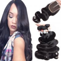 Wholesale Loose Weave Lace Closure Peruvian Virgin Human Hair Weave With Closure 4X4 from china suppliers