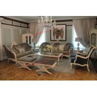 China French-type Furniture made by Wooden Carving Frame with Upholstery Sofa Set wholesale