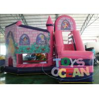 China Pink Princess Single Lane Inflatable Bounce House Slide Combo For Girls wholesale