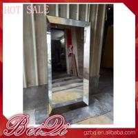 China Stainless steel mirror salon furniture hairdresser wall mounted white modern salon station wholesale