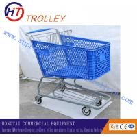 China 200 Liters Heavy Duty Plastic Shopping Carts , 4 Wheel Shopping Trolley wholesale