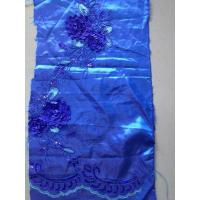 China Stretch Dark Blue Sequin Embroidered Fabric With Cord Rose Flower on sale
