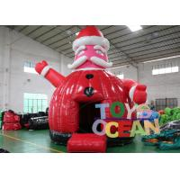 China Playground Inflatable Bounce House Christmas Santa Claus Bouncer Shape 4.5x4.5m wholesale