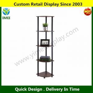 China Tube 5-Tier Corner Display Rack Multipurpose Shelving Unit, Dark Brown Grain/Black YM6-101 wholesale