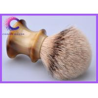 China Traditional Handmade high mountain silver tip badger shaving brush faux horn handle on sale