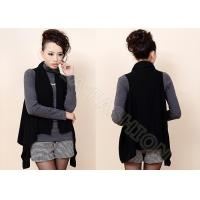 China Black Sleeveless Ladies Poncho Sweater with Shawl Collar , Ladies Cardigan Sweaters wholesale