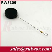 China Anti Theft Pull Box , Round Smallest Retractable Security Cord With Loop Cable End wholesale